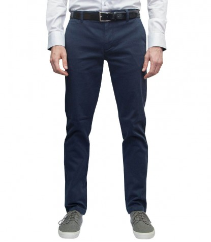 Trousers Men twill full color Blu
