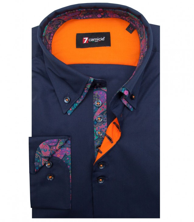 Camisas Donatello popelina stretch Azul
