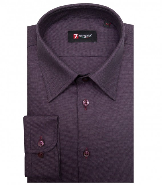 Shirt Romeo Weaved BordeauxBlack