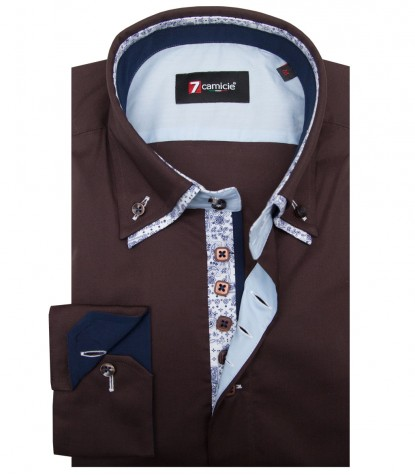 Camicia Marco Polo Popeline stretch Marrone