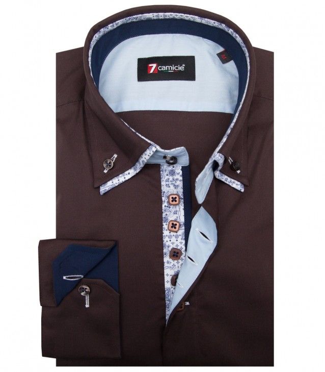 Shirt Marco Polo stretch poplin Brown