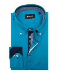 Shirt Roma stretch poplin Turquoise