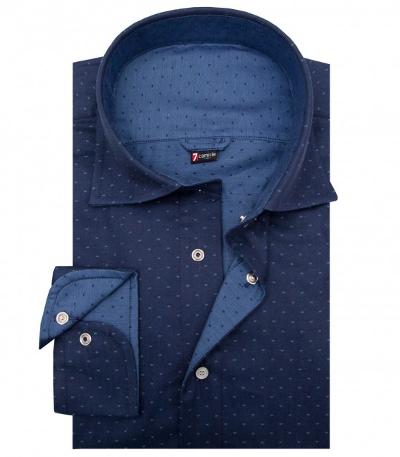 Double-faced hirt Firenze jacquard BlueLight Blue