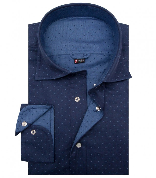 Double-faced shirt Firenze jacquard BlueLight Blue