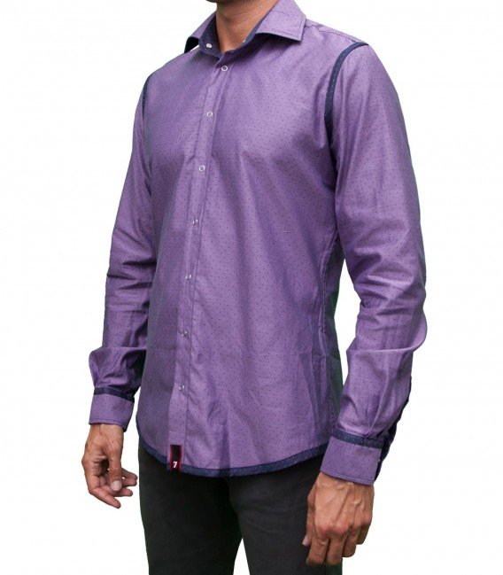 Camisa Firenze Reversible Jacquard Azul y Lila