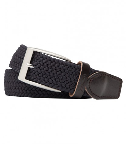 Dark Gray Braided Elastic Cotton Man Belt