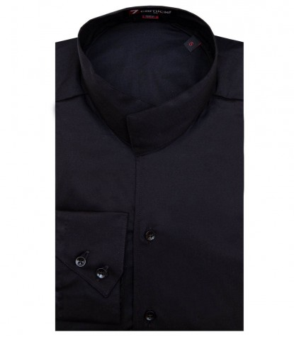 Shirt Caravaggio stretch poplin Black