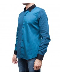 Camicia Leonardo Satin Blue Seaport Nero