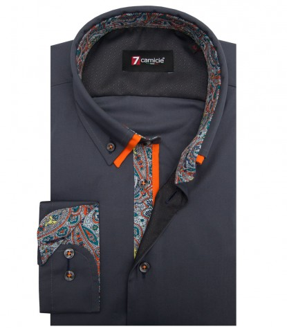 Shirt Bernini stretch poplin Dark Grey