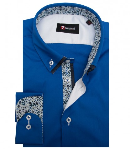 Shirt Bernini stretch poplin Bluette