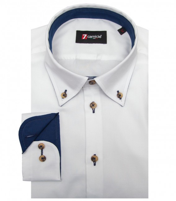 Shirt Leonardo Honeycomb fabric White