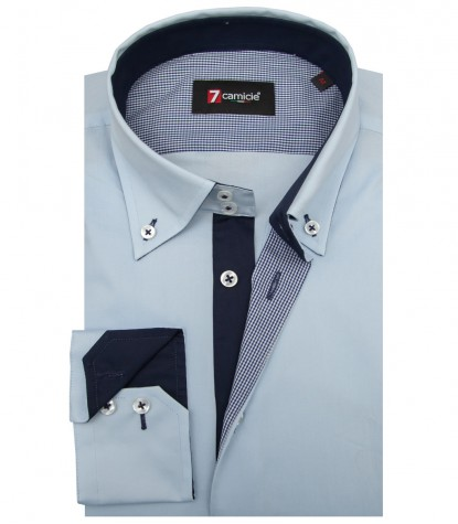 Shirt Roma stretch poplin Light Blue