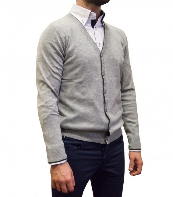 Knitwear Milano Blended Cachemire Light Grey and Military Green