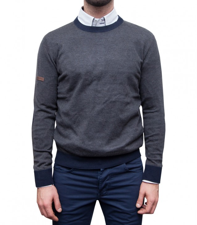 Knitwear Roma Blended Cachemire Dark Grey and Dark Blue