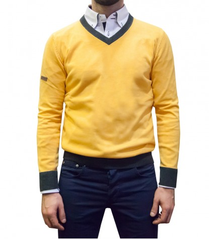 Knitwear Napoli Blended Cachemire Yellow Ocher - Dark Grey