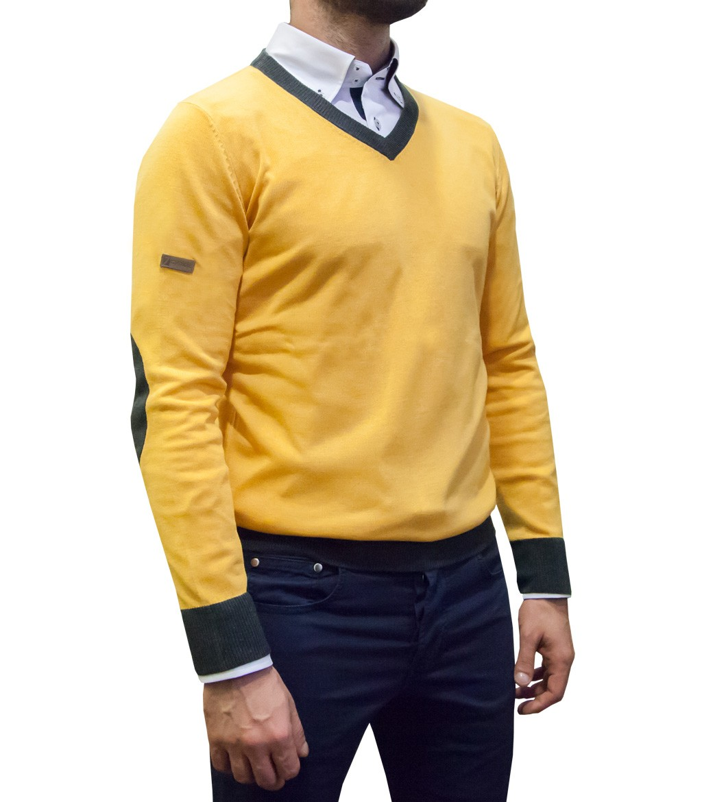 Knitwear Men Blended Cachemire full color Yellow Ocher - Dark Grey