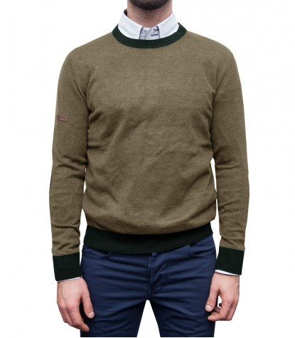 Knitwear Roma Blended Cachemire Mud Brown and Military Green