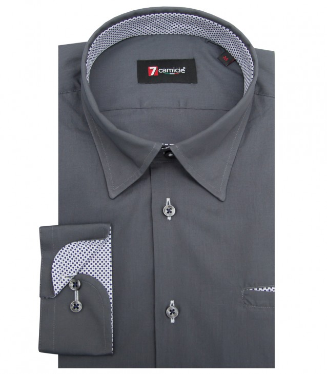 Shirt Tiziano poplin Dark Grey