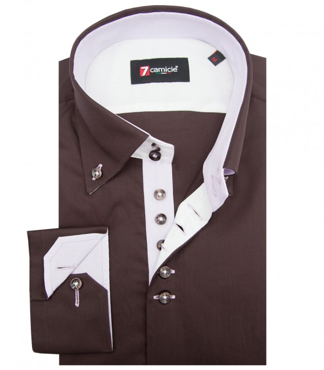 Shirt Roma poplin Brown
