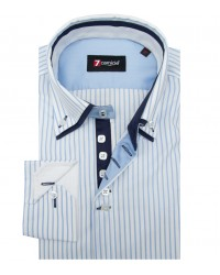 Shirt Marco Polo Cotton WhiteLite Blue
