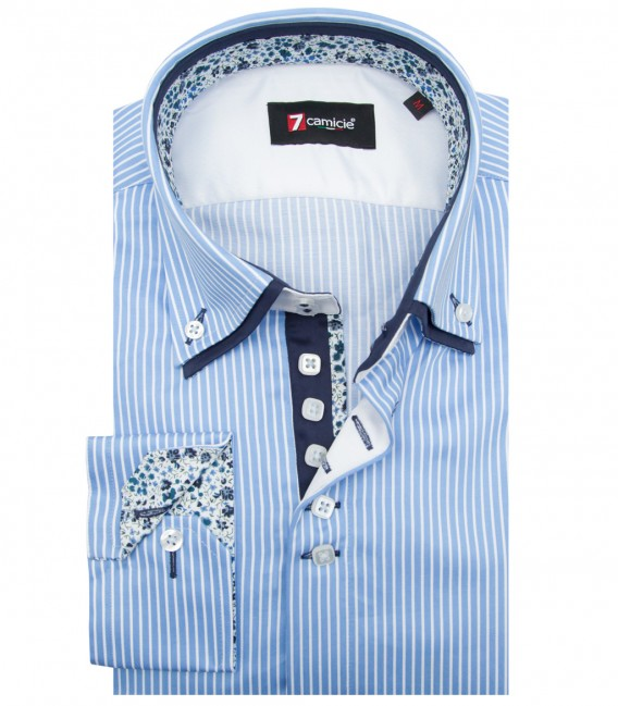 Shirt Marco Polo Satin Light BlueWhite