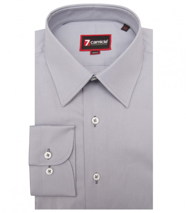 Shirt Romeo stretch poplin Medium grey