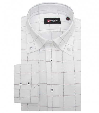 Shirt Roma Weaved WhiteBordeaux