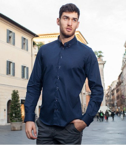 Camicia Bernini Popeline stretch Blu