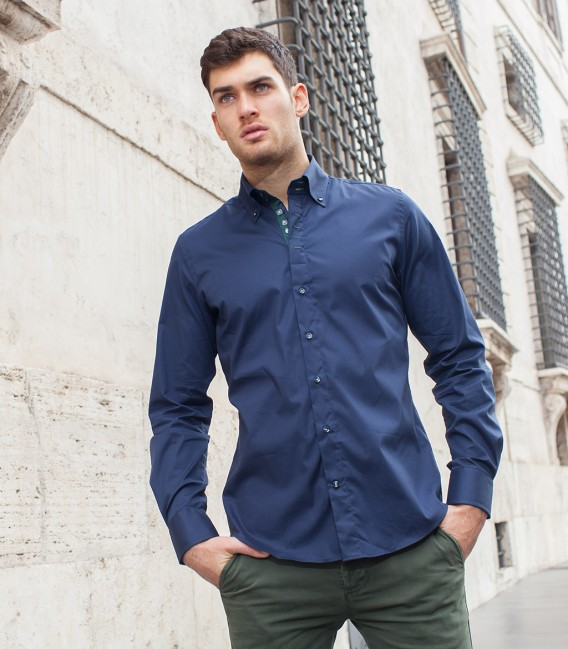 Shirt Roma stretch poplin Blu