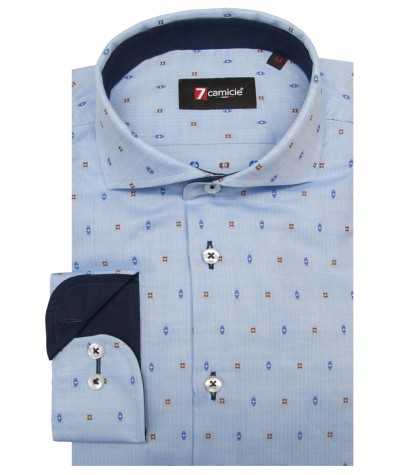 Shirt Napoli Cotton Lite BlueBrown