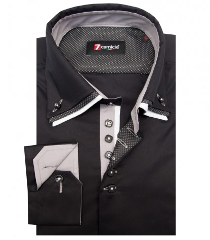 Shirt Vesuvio stretch poplin Black