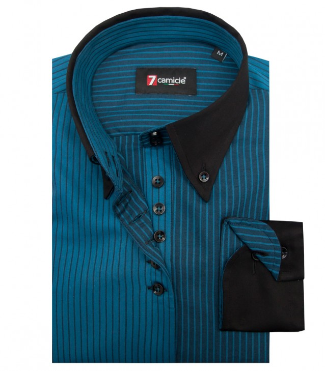 Shirt Silvia Satin Seaport Blue Black