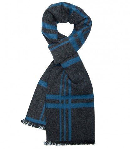 Double face viscose scarf Blue and gray