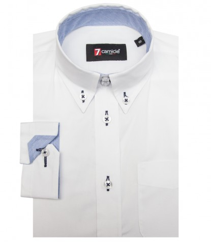 Shirt Francesco stretch poplin White