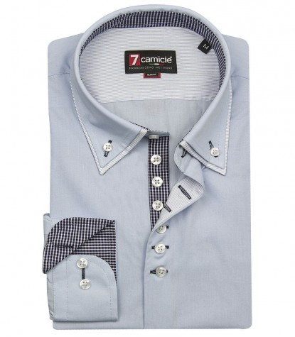 Blue button-down shirt cotton