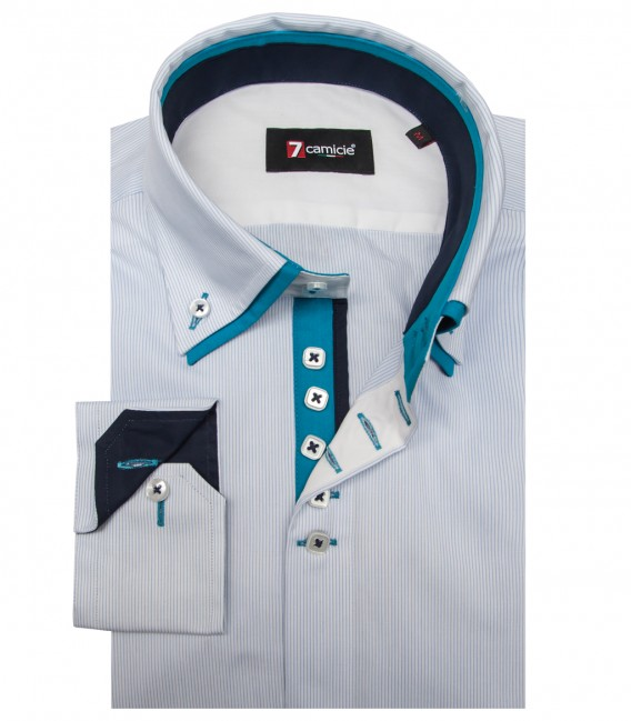 Shirt Marco Polo Poplin WhiteLite Blue