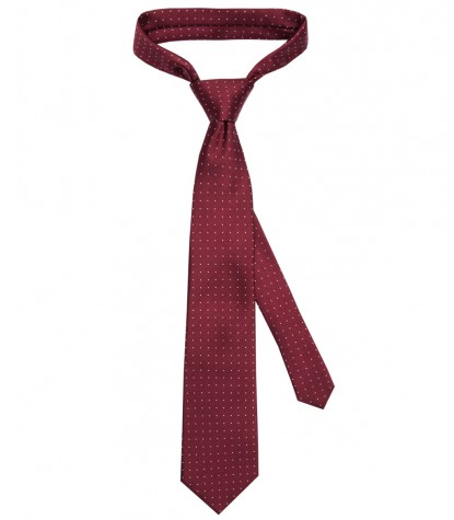 Stain Proof Tie Trevi Silk BordeauxWhite