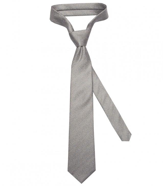 Stain Proof Tie Trevi Silk Light Grey and Light Blue