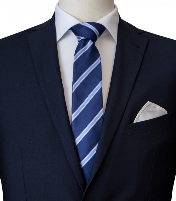 Stain Proof Tie Trevi Silk BlueLite Blue