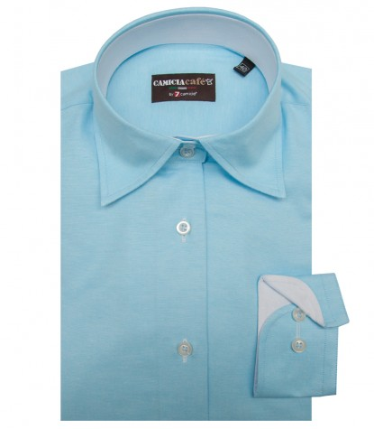 Shirt Linda Cotton Polyester Melange Light Blue