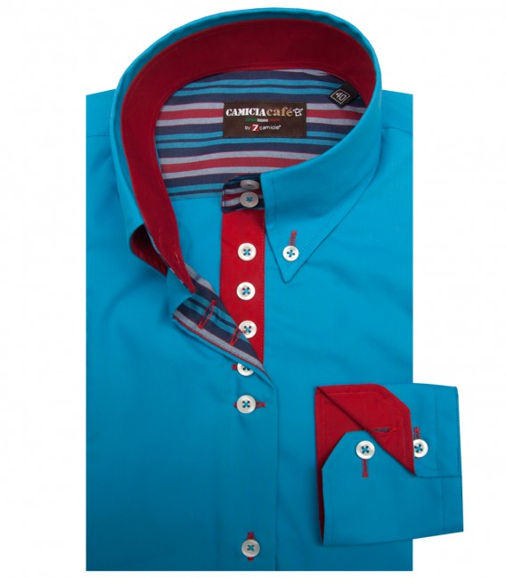 Shirt Silvia Cotton Polyester Turquoise