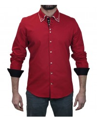 Double button-down collar 7 buttons red cotton shirt