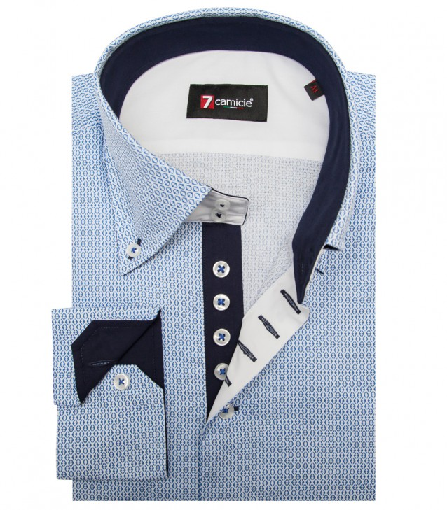 Shirt Roma Cotton White Light Blue