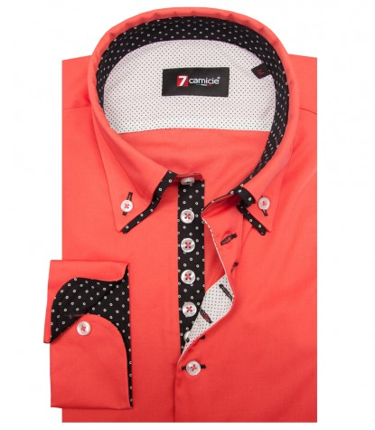 Camisas Donatello popelina stretch Coral