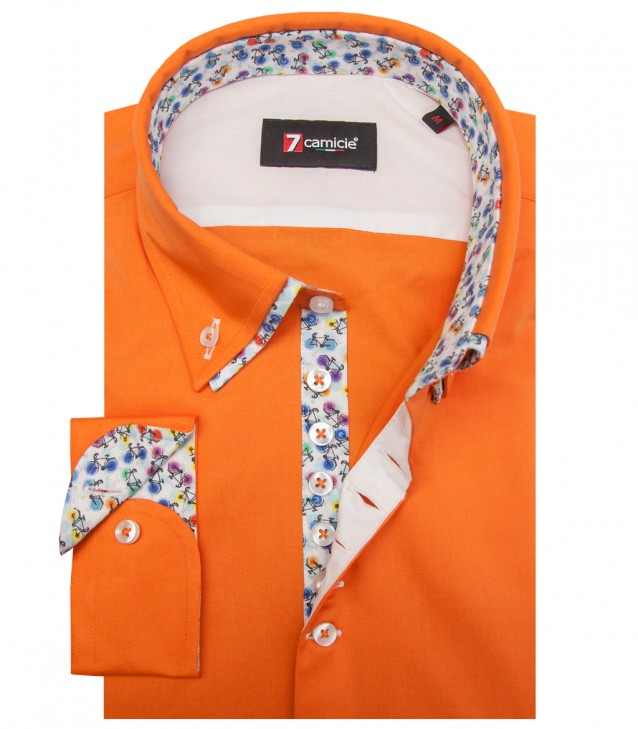 Camisas Donatello popelina stretch Laranja
