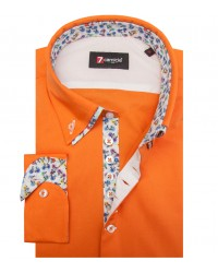Chemises Donatello popeline extensible Orange