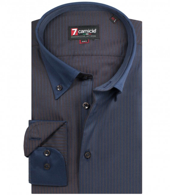 Shirt Leonardo Satin BlueBrown