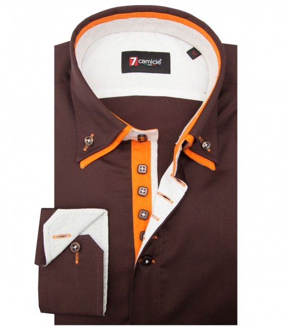 Camicia Marco Polo Satin Marrone
