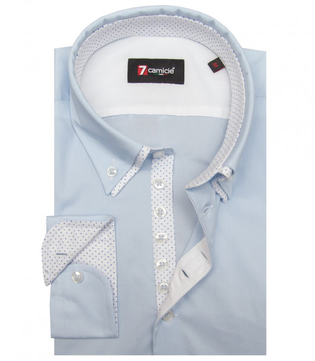 Shirt Donatello stretch poplin Light Blue