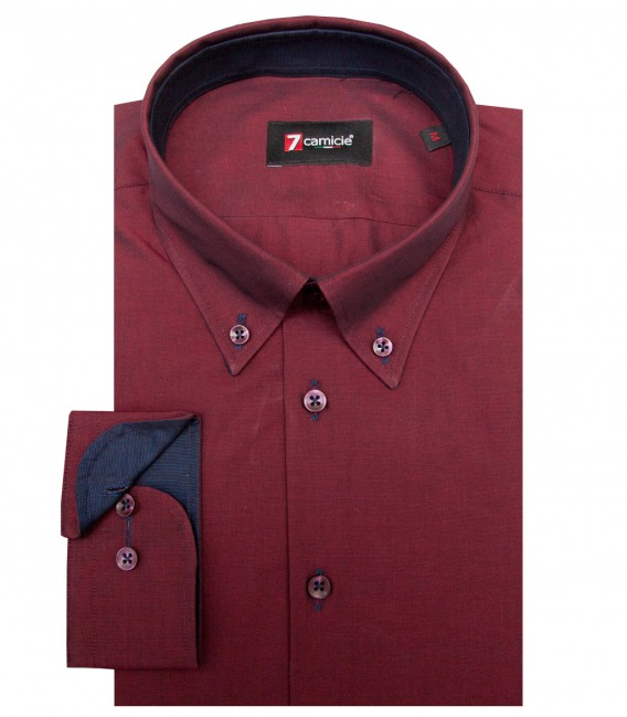 Shirt Leonardo Fil a fil Red Bordeaux